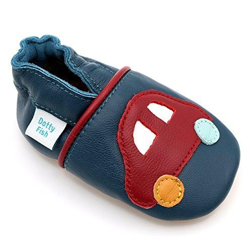 Dotty Fish weiche Leder Babyschuhe mit rutschfesten Wildledersohlen. 18-24 Monate (23 EU). Roter Autoentwurf auf Marineblau Schuh für Jungen. Kleinkind Schuhe