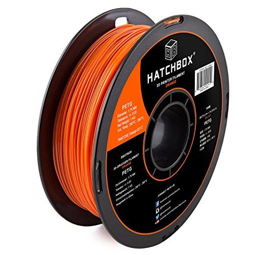 HATCHBOX PETG 3D Printer Filament, Dimensional Accuracy +/- 0.03 mm, 1 kg Spool, 1.75 mm, Orange