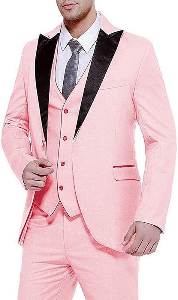 Men's 3 Pieces Business Suit Slim Fit Prom Wedding Groom Tuxedo