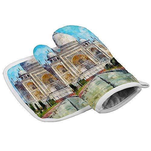 Yolocal Taj Mahal Ofenhandschuhe und Topflappen, hitzebeständig