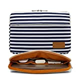 Canvaslife Breton Stripe Pattern 360 Degree Protective 13 inch Canvas Laptop Sleeve with Pocket 13 Inch 13.3 Inch Laptop Case