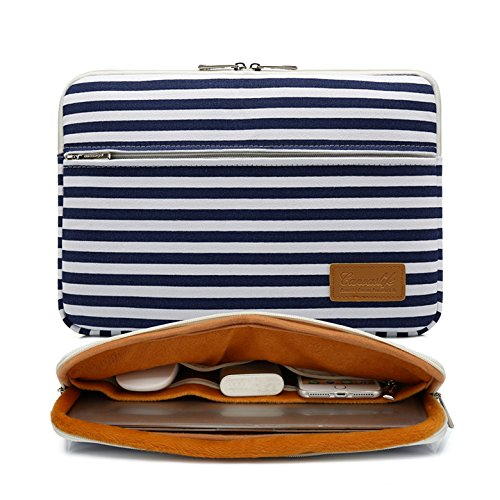 Canvaslife Breton Stripe Pattern 360 Degree Protective Waterproof Laptop Sleeve 15 Inch 15 Case and 15.6 Laptop Bag