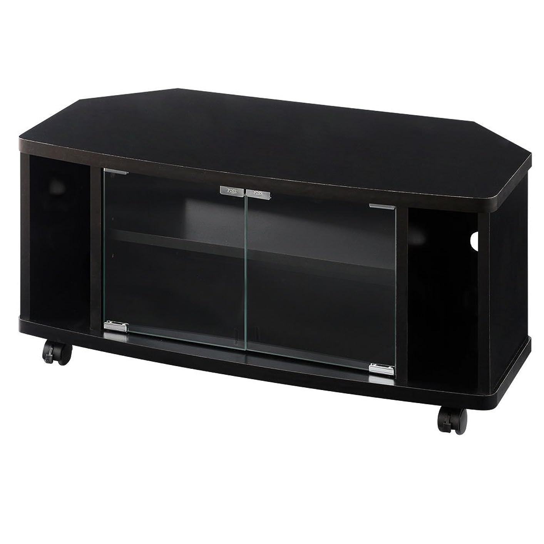 うそつき昼食セイはさておきぼん家具 テレビ台 32型 コーナー 木製 扉付き オーディオラック 幅80cm ブラック