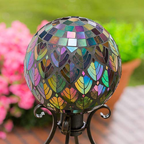 Evergreen Garden Beautiful Baroque Splendor Mosaic Glass Gazing Ball - 10 x 10 x 12 Inches Fade and Weather Resistant Outdoor Decoration