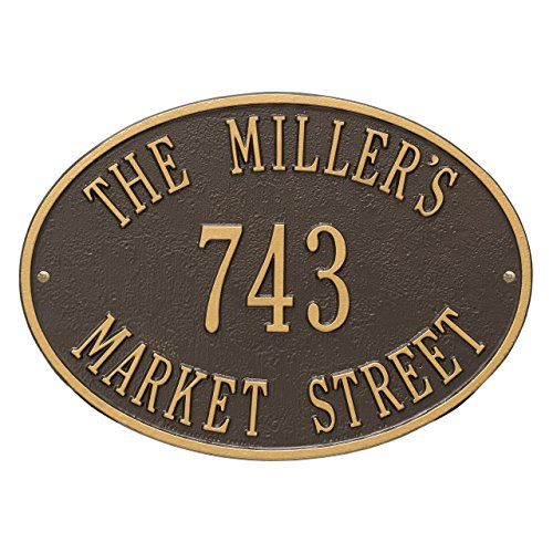 Whitehall Hawthorne Oval Standard Address Plaque 3 Lines - Bronze/Gold