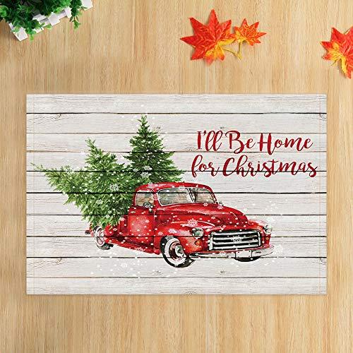 Christmas Red Retro Truck Bath Rugs, Vintage Car with Xmas Tree in Snowy Winter on Rustic Wooden, Non-Slip Doormat Floor Entryways Indoor Front Door Mat, New Year Bathroom Accessories, (15.7X23.6in)