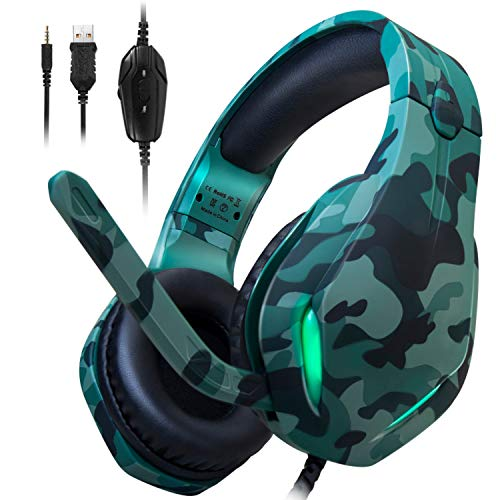 Stynice PS4 Headset 3.5mm Over Ear Kopfhörer Wired Gaming Headset mit Mikrofon und LED Licht für Laptop Mac PC PS4 PS5 Xbox One Controller (Camouflage)