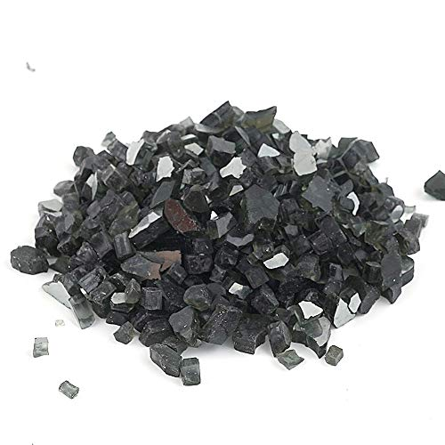 High Luster Reflective Fire Glass Gravel, Fire Gems, Crushed Stones Glass for Fire Pit Place Garden Decoration,1/4'',620g/1.37lbs/21.9oz (Black)