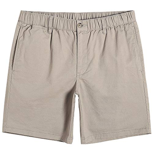 maamgic Men's Classic-fit 7' Cotton Casual Shorts Elastic Waistband with Multi-Pocket Daily Wear Walking Summer Outfit Khaki