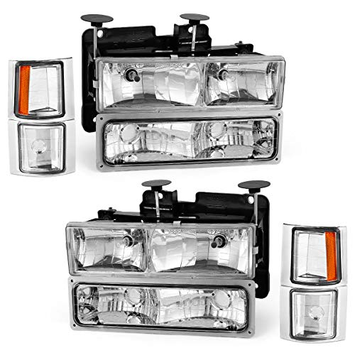 For 1994-1999 Chevy Silverado Pickup Tahoe Suburban Headlights OEDRO C/K 1500/2500/ 3500 Suburban 1500/2500 Amber Side & Bumper Chrome Housing Clear Lens + Bumper Headlamp Left+Right, 2-Yr Warranty