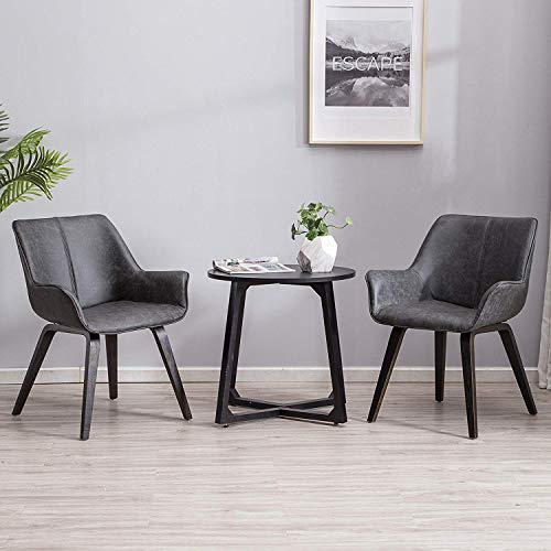 YEEFY Charcoal Leather Contemporary Living Room Chairs with arms Accent Chairs Dining Room Chairs Set of 2 (Charcoal)
