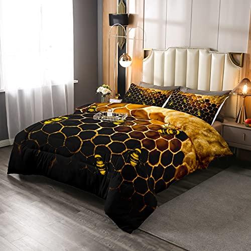Juego de cama de nido de abeja, edredón para niñas y niños, diseño de abeja, hexagonal, forma geométrica, con 2 fundas de almohada, naranja, amarillo y negro