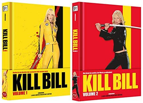 wattiertes Mediabook - Kill Bill Teil 1 und 2 - 2 Disc Limited Edition (Blu Ray + DVD) 2 Boxen inkl Booklets - Quentin Tarantino Collection