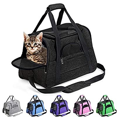 Pet Carrier Airline Approved Pet Carrier Puppy Dog Carriers for Small Dogs, Cat Carriers for Medium Cats Small Cats, Small Pet Carrier Small Dog Carrier Airline Approved Cat Travel Carrier-ALL Black