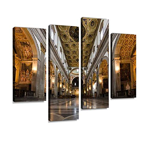 4 Panels Canvas Paintings - Church Interior at Assisi, Italy - Wall Art Modern Posters Framed Ready to Hang for Home Wall Decor