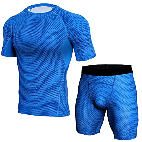 Muscle Shirt Uomo Estate Classica Moda Girocollo Tinta Unita Uomo Compressione Shirt Moderna Slim Fit Stretch Uomo Manica Corta Set Palestra Wicking Traspirante Shirt