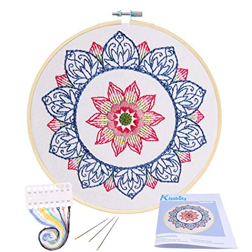 Color Threads and Tools Kit Kissbuty Cross Stitch Kit Including Embroidery Cloth with Floral Pattern Blue Mandala Bamboo Embroidery Hoop Full Range of Embroidery Starter Kit with Pattern