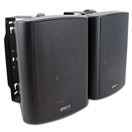 QTX Sound 2x Black Wall Mountable Hi-Fi Surround Sound Home Audio Speakers...