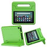 MoKo Funda Compatible con Kindle Fire 7 Tablet (9th Generation - 2019 Release), Ligero y Degado Protector a Prueba de Los Golpes con Asa Portátil para Niña Cover Case - Verde