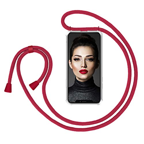 ZhinkArts Cadena para Teléfono Móvil Compatible con Apple iPhone X/XS - Funda con Collar de Cordón para Smartphone - Carcasa con Correa para Celular para Llevar - Rojo/Rojo