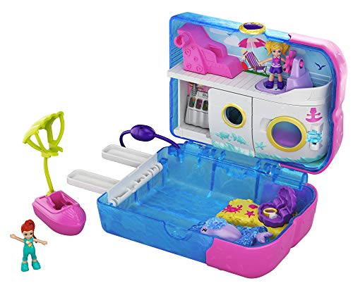 Polly Pocket Pocket World Sweet Sails Cruise Ship Compact with Fun Reveals, Micro Polly and Lila Dolls and Jet Ski Accessory, for Ages 4 and Up [Amazon Exclusive]
