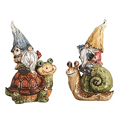 TERESA'S COLLECTIONS Garden Gnome Statue, Set of 2 Funny Gnomes Sitting on Snail and Turtle Figurine, Best Garden Art Statue Décor for Indoor Outdoor Patio Lawn Yard Decoration 7.5 Inches Tall