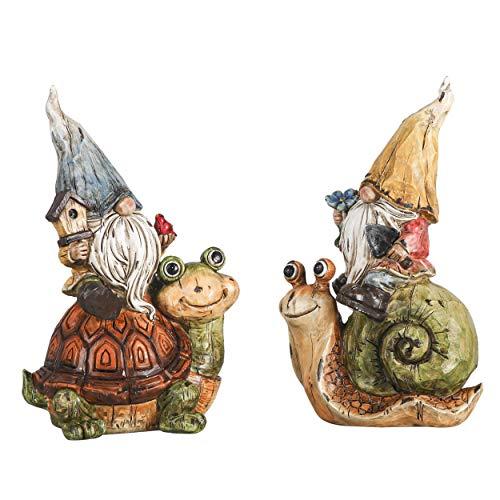 TERESA'S COLLECTIONS Gnomo da Giardino su Lumache e Tartarughe Figure Resistenti alle intemperie per Esterno, Set di 2 Figure da Giardino Nane da 16 cm Statue da Giardino