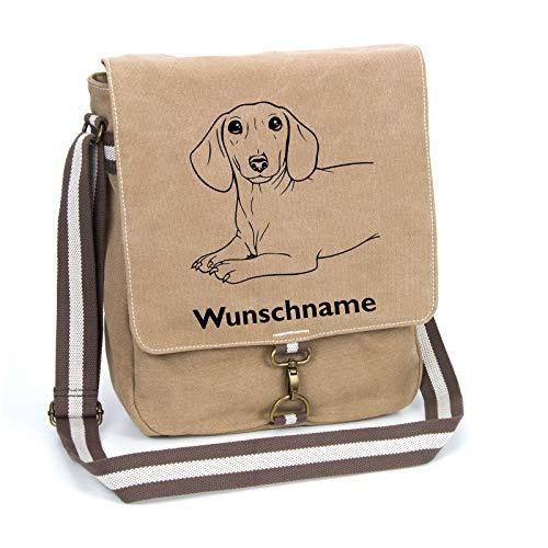 Dackel Kurzhaar Schultertasche Umhängetasche Tasche mit Hundemotiv und Namen personalisiert (Motiv 2)