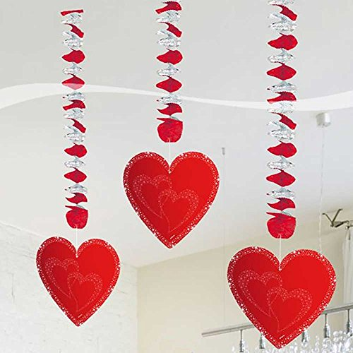 Folat Décoration à Suspendre Cœurs-3 pièces, 24454, Rouge