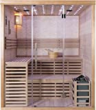 Canadian Hemlock Wood Traditional Swedish 71' 3 or 4 Person Indoor Twin Bench Wall Sauna Spa, with 8KW Wet or Dry Heater, Rocks, Bluetooth, Side Table and Towel Racks