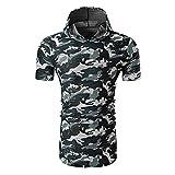 XWLY Camouflage T-Shirt Homme Mode Été Coupe Ajustée Homme Shirt Moderne Basique Manches Courtes Sweat-Shirt Jogging Camping Léger Décontracté Homme Sweat À Capuche B-Blue XL