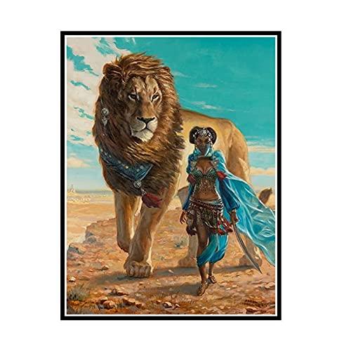 PDFKE Obraz ścienny na płótnie obraz spacer z nadrukiem bestii lew Home Decor plakat ze zwierzęciem do salonu-50X70cm bez ramki 1 szt