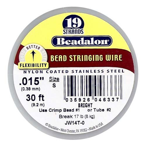 Beadalon JW14T-0 Stringing Wire 19-Strand .015-Inch (.38-Millimeter) Diameter 30-Feet/Pkg, Bright