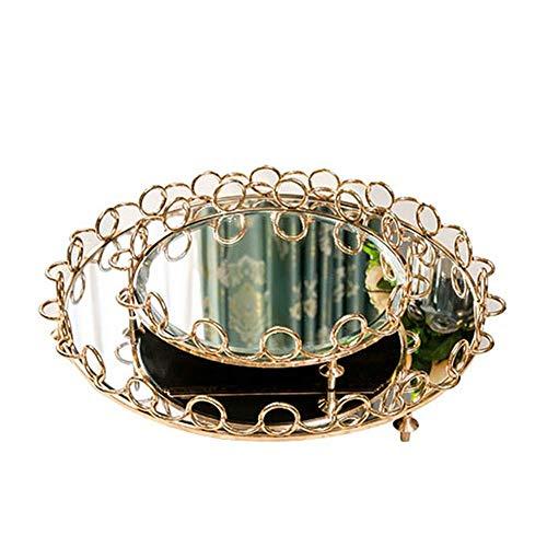 Bandeja decorativa decorativa organizadora de alimentos y bebidas, bandeja de café de cristal, metal, bandeja de espejo para servir diseño único (color: dorado, tamaño: 49 x 8 cm) AA