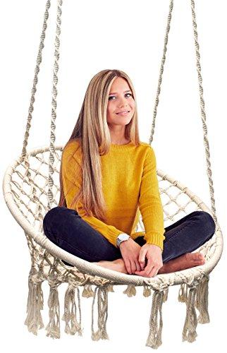 Sorbus Hammock Chair Macrame Swing, 265 Pound Capacity, Perfect for Indoor/Outdoor Home, Patio, Deck, Yard, Garden (Single Swing)