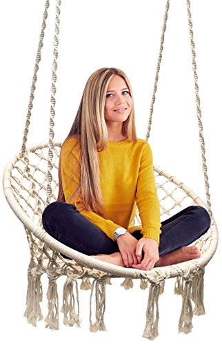 Hammock Chair Macrame Swing, 265 Pound Capacity, Perfect for Indoor/Outdoor Home, Patio, Deck, Yard, Garden