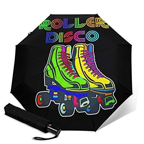 Automatischer Regenschirm 70er 80er Retro Rollschuhe Disco Schirm Schutz Dicker Sonnenschutz Stark Stabil Winddicht Regenschirme Winzig Leicht Faltbare Regenschirme für Damen Herren Outdoor
