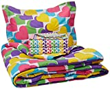 dream FACTORY Kids 5-Piece Complete Set Easy-Wash Super Soft Microfiber Comforter Bedding, Twin, Multicolor Rainbow Hearts