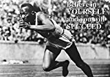 Believe Succeed Jesse Owens Schwarz und Weiß Sport Zitat