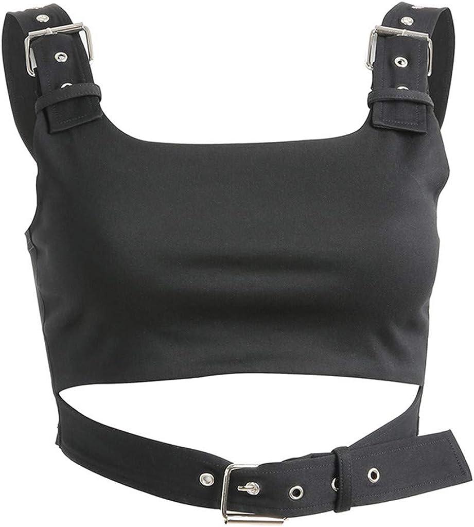 Crop Tops for Women Sexy Slim Fit Overlap Cross Sling Casual Hip Hop O-Neck Crop Tank Top Vest