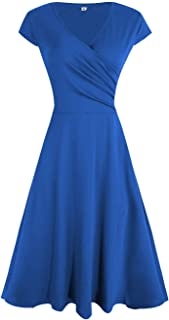 Akivide Womens A Line Casual V Neck Swing Wrap Dress Pleated