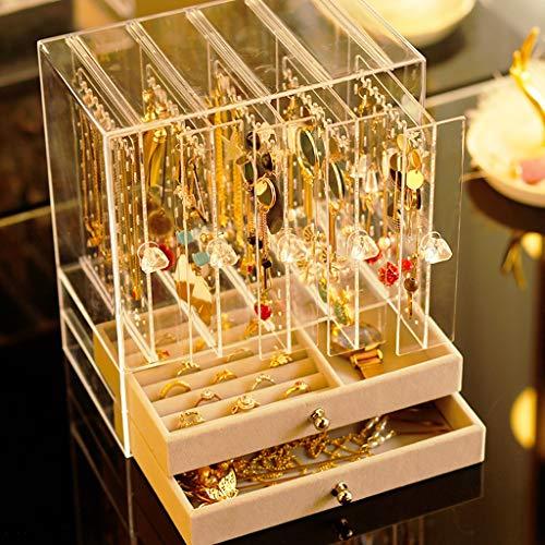 JYDQM Caja de Almacenamiento de Joyas Multifuncional, Pendientes, Pendientes, Caja de Acabado Transparente de joyería, Collar, Pulsera, Caja de Anillos, Caja de joyería