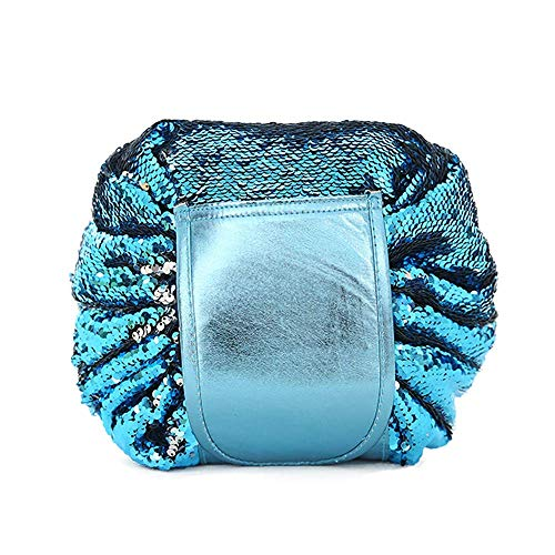 GOUPPER Drawstring Cosmetic Bags Large Capacity Beautician Organizer Toiletry Cosmetic Bags Portable Quick Pack Waterproof Travel Bag (Silver/Blue)