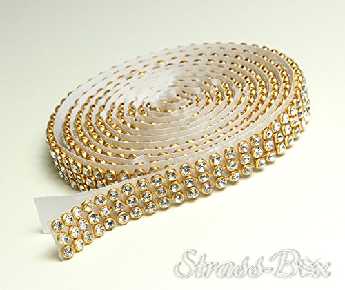 Crystal/or Mesh bande de strass SS8 autocollant galon Largeur au choix, 1,15 m de long strass clair, 3 reihig / 10 mm x ca.1150 mm