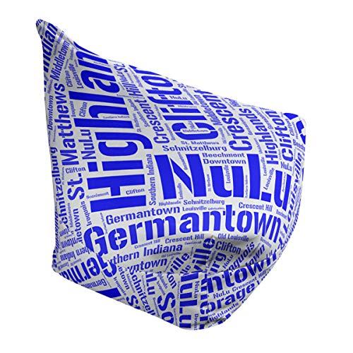 Great Features Of ArtVerse Rand Cites Louisville, Kentucky Districts Word Art-Blue Bean Bag Cover w/...