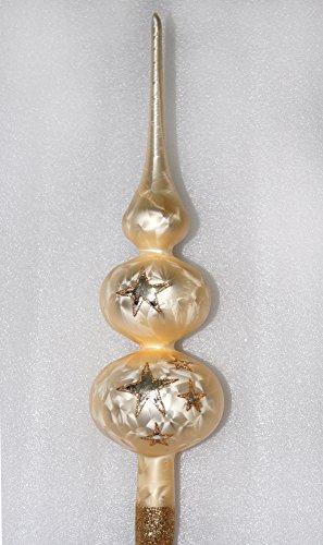 Weihnachtsbaumspitze Groß 35cm in Ice Champagner Goldener Stern Baumspitze Spitze Tannenbaumspitze Christbaumspitze Weihnachtsbaum Christbaum Tannenbaum Christmas Tree Top