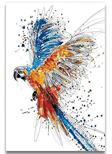 dbzlp DIY Coloring Malen nach Zahlen Aquarell Tiere Papagei Bild Malen Fliegende Vögel Malen nach Zahlen Mit Farben