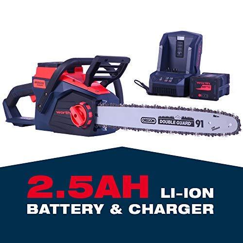 Worth Garden Motosierra de batería de iones de litio de 84 V, motosierra de 5 a 10 cm de longitud de corte, cadena Oregon, velocidad de 14 m/s, freno de cadena, con 1 batería de 2,5 Ah, cargador