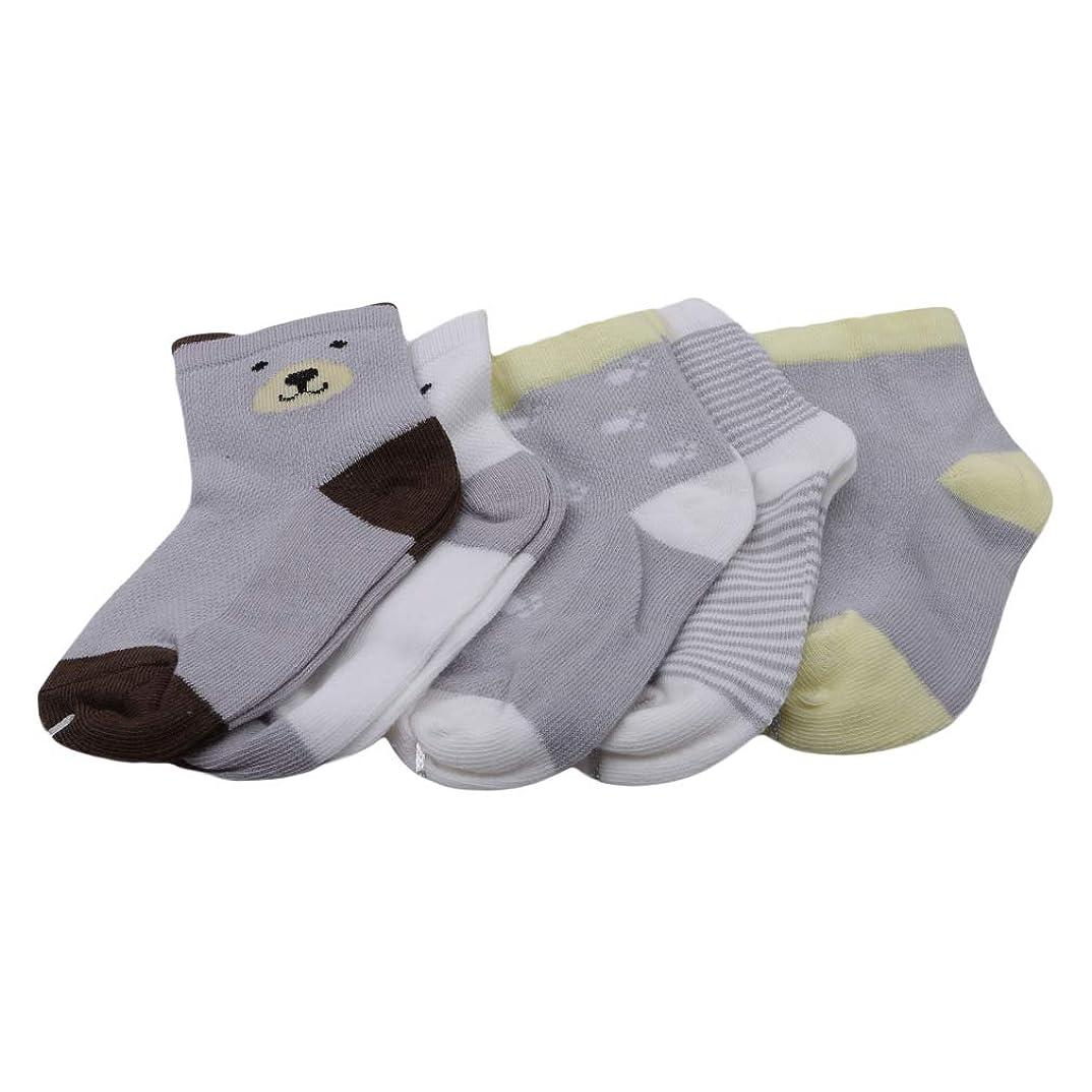 指真向こう駅JIOLK 靴下 キッズ 猫 ソックス 可愛い 動物柄 5足セット シンプル 柔らかい 靴下子供 通学 通園