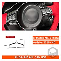 Mazda MX-5 Miata Roadsterステアリングホイールボタンスイッチカバーステッカー2016 + MX5 NDカーボンファイバーインテリアトリムカーアクセサリー (Color Name : Button frame)
